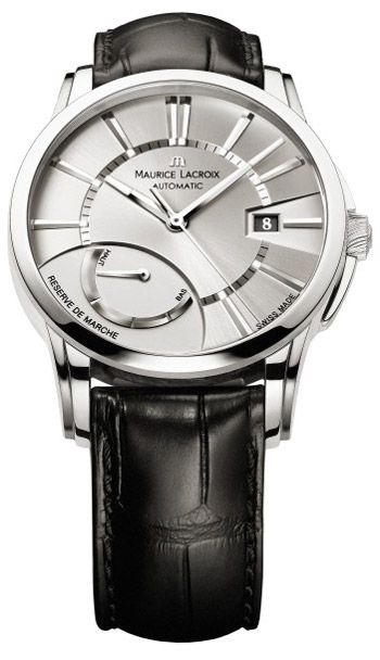 Maurice Lacroix Pontos Reserve De Marche Silver Dial Black Leather Mens Watch PT6168-SS001-131