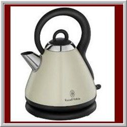 Either you are looking for an electric kettle to replace old unit or as a house warming gift to someone you care, cream kettle always the best choice. The main reason is that cream color easy to blend with any other color; regardless what kitchen deco color is and no matter what other items colors are. Some people even noticed that no finger prints being left behind on cream kettle. It is great to remain clean appearance.      The pyramid kettle shown in the picture is Russell Hobbs 18256…