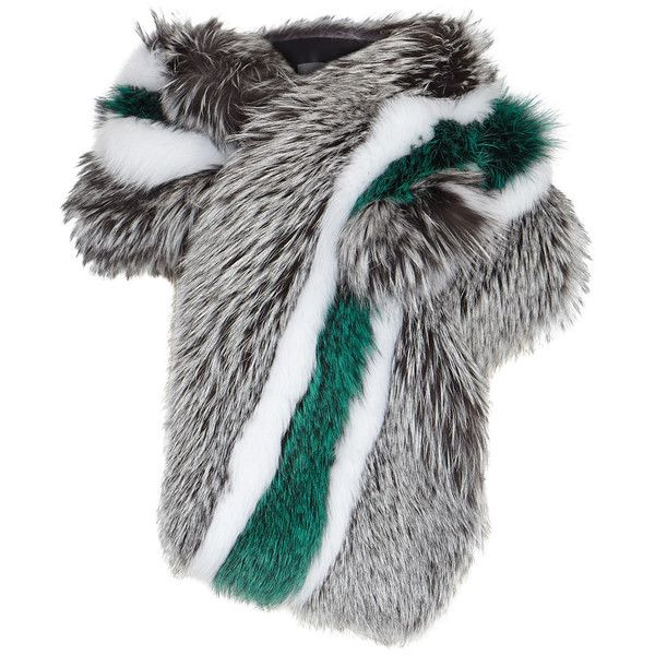 LILLY e VIOLETTA Striped fox fur scarf (12.930 RON) ❤ liked on Polyvore featuring accessories, scarves, fox fur shawl, fox fur scarves, multi colored scarves, striped shawl and colorful shawl