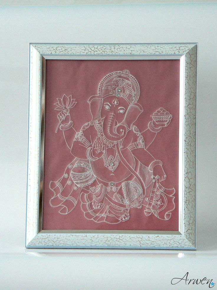 Sri Ganesha in a photo frame (parchment drawing).