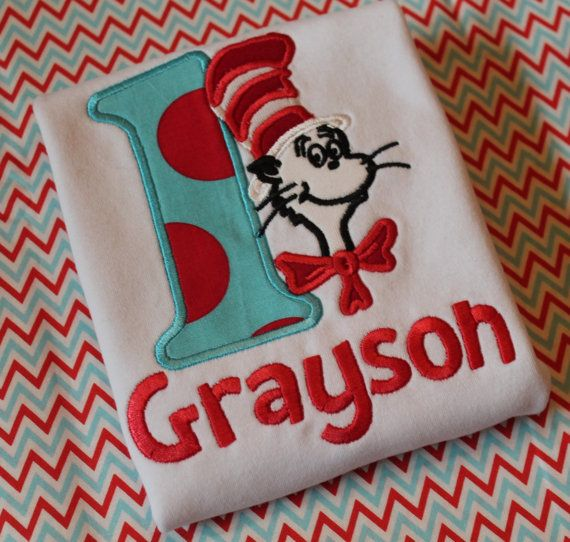Dr Seuss shirt - Cat in the Hat Birthday party theme - Embroidered First 1st Birthday with Applique - Dr. Suess Theodore Geisel chevron dots