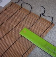 DIY dollhouse blinds tutorial from a bamboo placemat. Spray paint for colours!