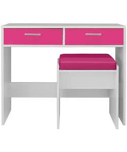 HOME New Sywell Dressing Table and Stool - White/Pink Gloss.