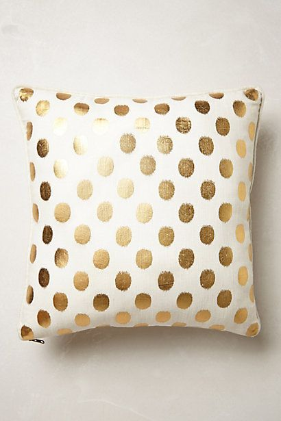 luminous dots pillow - gold polka dot throw pillow #anthrofave
