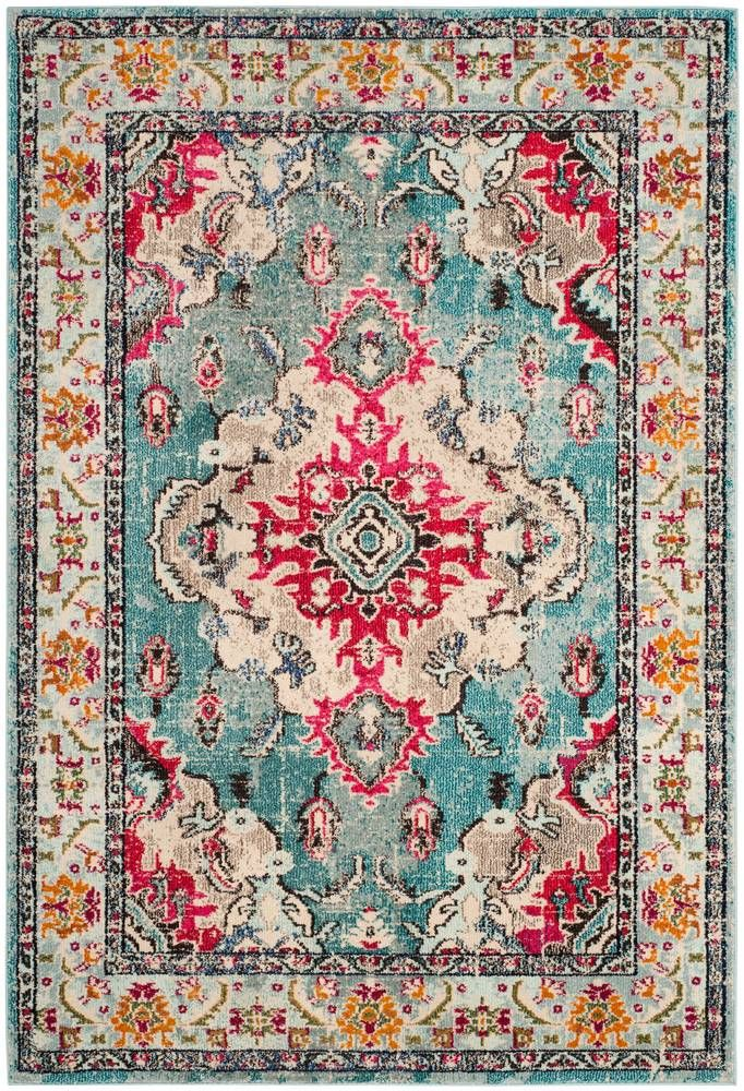 Free-spirited and vibrantly colored, Monaco Collection rugs bring Bohemian-chic flair to folkloric and formal Persian designs. A mix of high and low loop pile is power-loomed of long-wearing polypropylene in classic textures and trendy erased-weave looks.