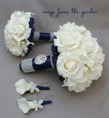 Calla lilies, roses and stephanotis make the perfect romantic bridal bouquet that can be customized for your wedding colors. This keepsake custom silk flower bridal bouquet and complete wedding flower