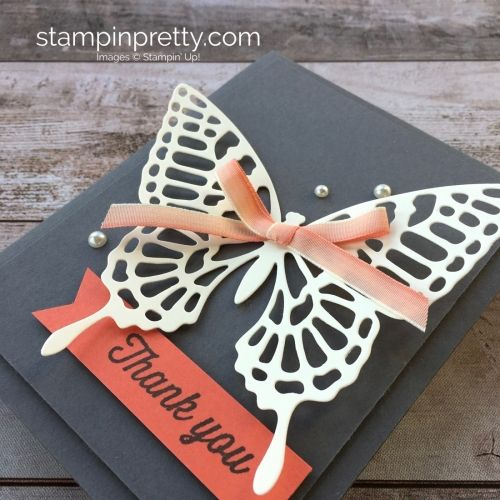 Stampin Up Butterflies Thinlits Dies butterfly thank you card ideas - Mary Fish StampinUp