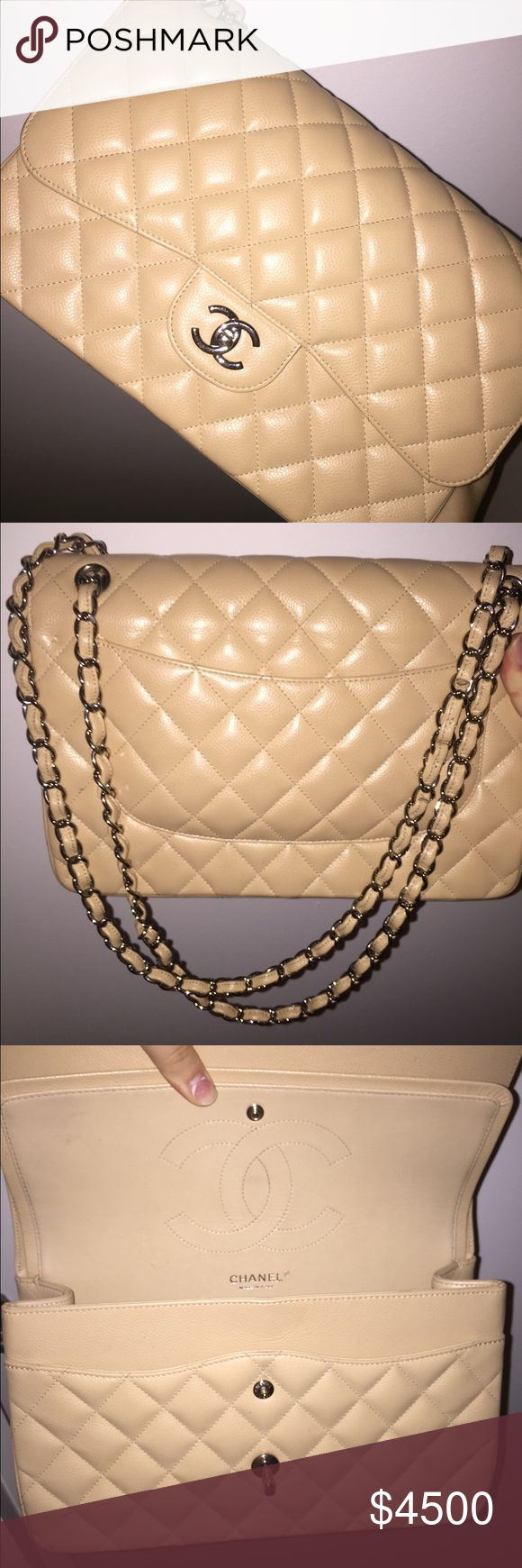 Chanel double flap jumbo Very gently used Chanel jumbo in beige stunning bag hade it for many years and just never wore it so I've decided to give it away cause I'm more in to the boy bag now the hard ware is in great condition and the leather is to does not come with box bag or authenticity card cause it was all lost from how many times I moved within the The years if you want pictures of serial code in bag or any other pictures please just ask me no offers only accepting p/-\ypal have a…