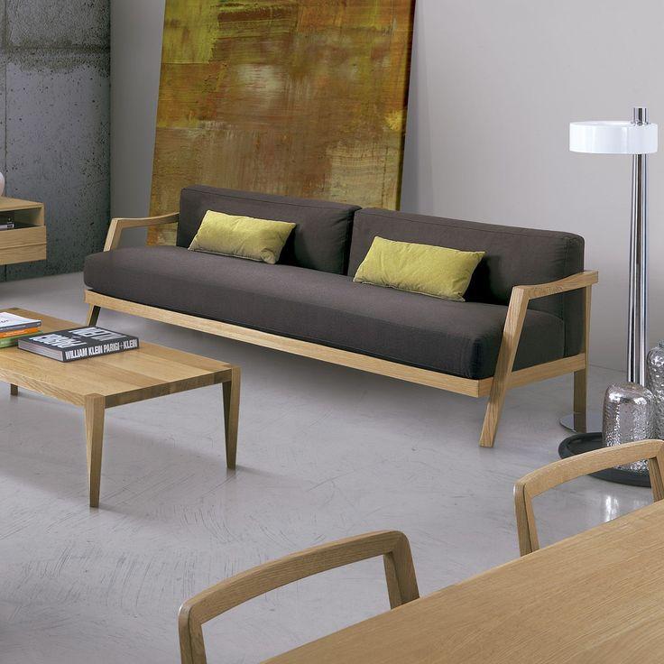 Sof plaza de oliver b con estructura en madera for Sofa exterior madera