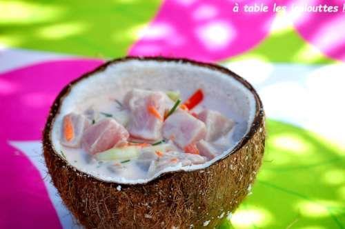 Poisson cru au lait de coco ou salade de poisson à la tahitienne