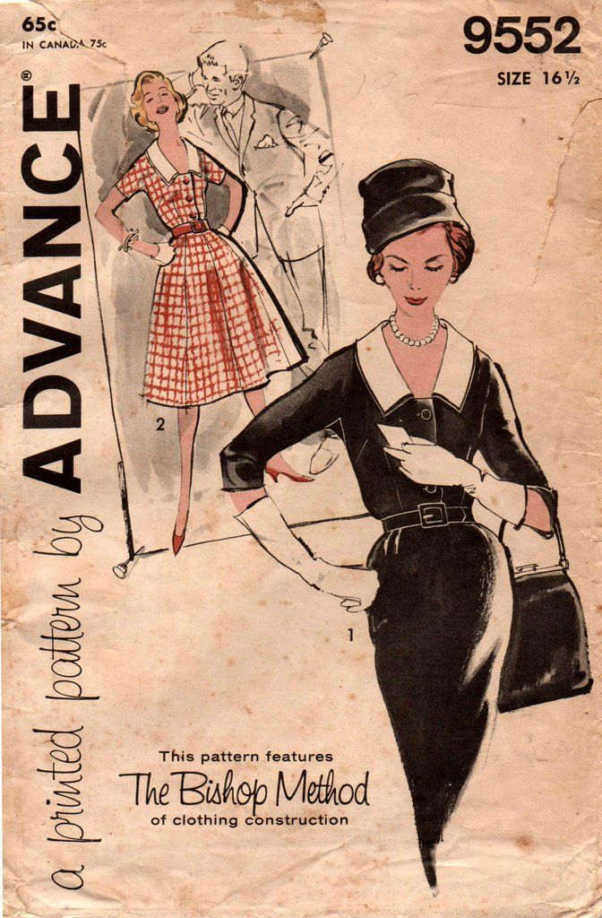 Advance 9552 Womens Full Skirt or Sheath Dress with Collar 60s Vintage Sewing Pattern Size 16 1/2 Bust 37 Inches