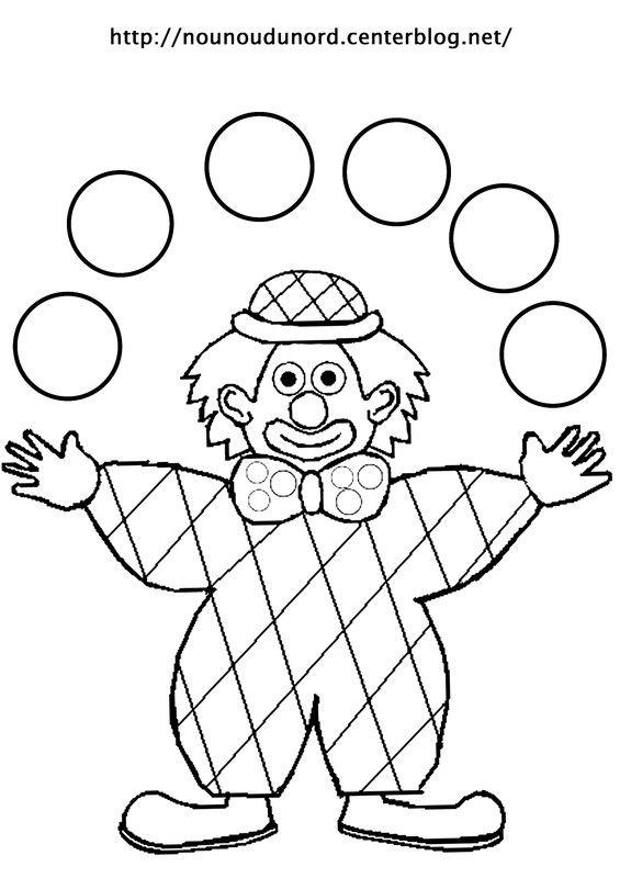 Coloriage clown arlequin jongleur dessiné par nounoudunord
