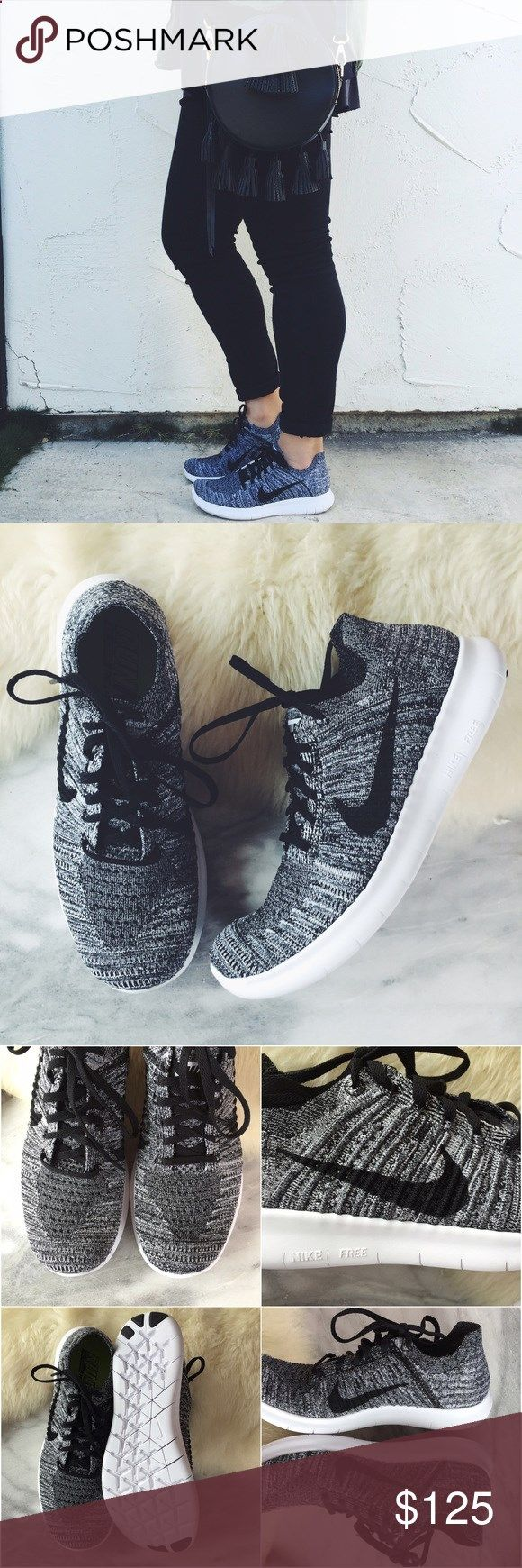 Nike Free RN Flyknit Oreo Sneakers •More cushioned than the Nike Free RN Motion Flyknit, the Nike Free RN Flyknit Womens Running features a newly designed midsole pattern that expands, flexes and contracts with your foot with every step. Its sock-like upper provides the incredible fit of Flyknit for total comfort throughout your run. •Women's size 9.5, true to size. •New in box (no lid). •NO TRADES/HOLDS/PAYPAL/MERC/VINTED/NONSENSE. Nike Shoes Sneakers