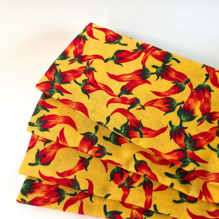 Chili Peppers Autumn Dinner Napkins, Red-Orange,Yellow Cotton Print. Southwest Table Decor.  Set of 4.  Everyday Lux, Eco Friendly. by TableForAllSeasons on Etsy