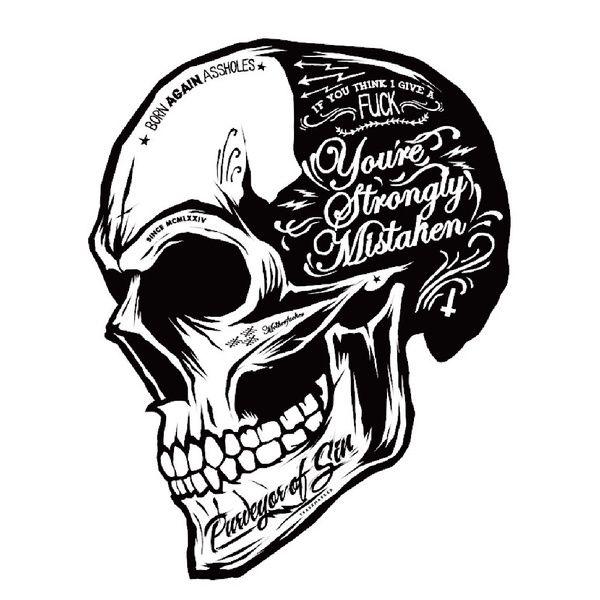 125 cm black white skull cool car stickers moto decals