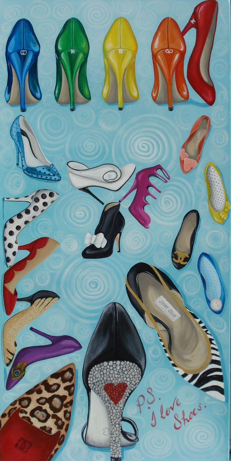 """P.S. I Love Shoes"" Acrylic original 24"" x 48"" painted by Pauline Dueck #ShoeArt"