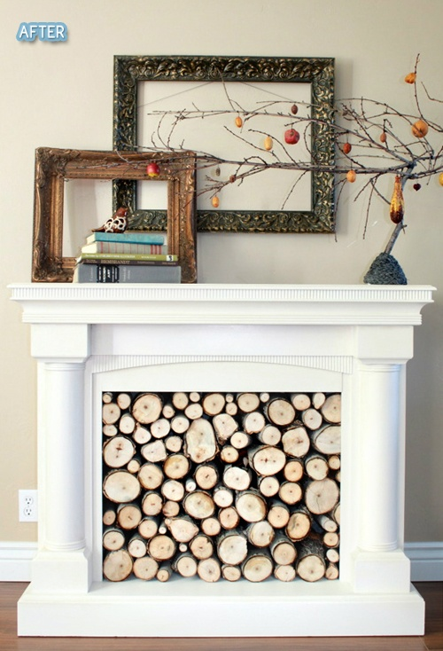 Faux fireplace empty frames empty mantle ideas for What to do with empty picture frames