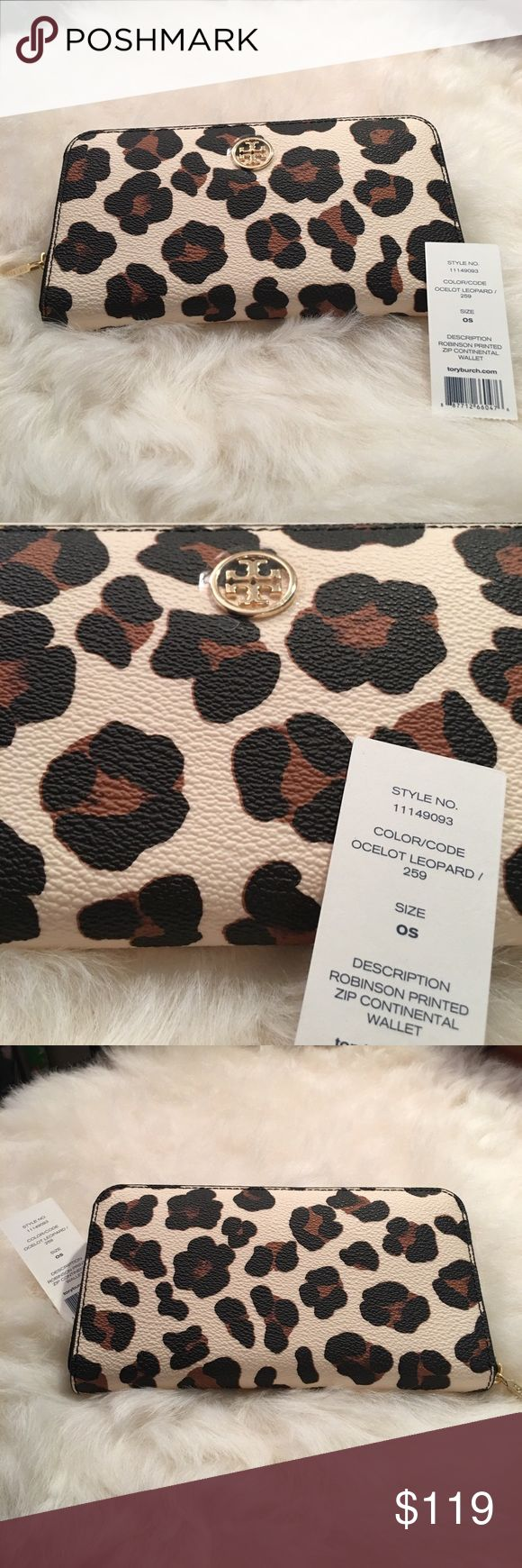 "NEW Tory Burch Continental Wallet in Ocelot Leop NEW Tory Burch Continental Wallet in Ocelot Leopard! Standard Continental Wallet size 7.5""x 4""x 1"", has zipper interior coin pocket, 8 card slots and 4 additional compartments, NEW and AUTHENTIC Tory Burch Bags Wallets"