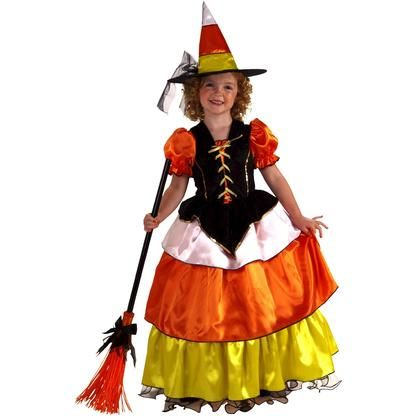 Forum Girls Cute Candy Corn Witch Kids Halloween Costume