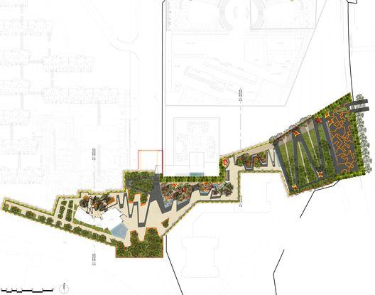 Arquitetura e Paisagem: Pavilhões de metal perfurado se elevam no parque, por Martha Schwartz,Planta Geral