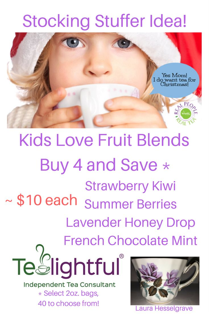 Stocking Stuffer Idea!  Kids Love Fruit Blends!  Buy 4 and Save! About $10 each! Select 2 oz bags, 40 to choose from!  I suggest Strawberry Kiwi, Summer Berries, Lavender Honey Drop, and French Chocolate Mint.  The Kids on your list will Love You :)   <Note: I get commissions for purchases made through links in this post.>
