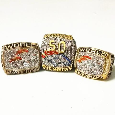 US Size 6 to 15! 3pcs/Set 2017 Hot Sale 1997 1998 2015 Denver Broncos Super Bowl 50 Championship Rings Replica Drop Shipping