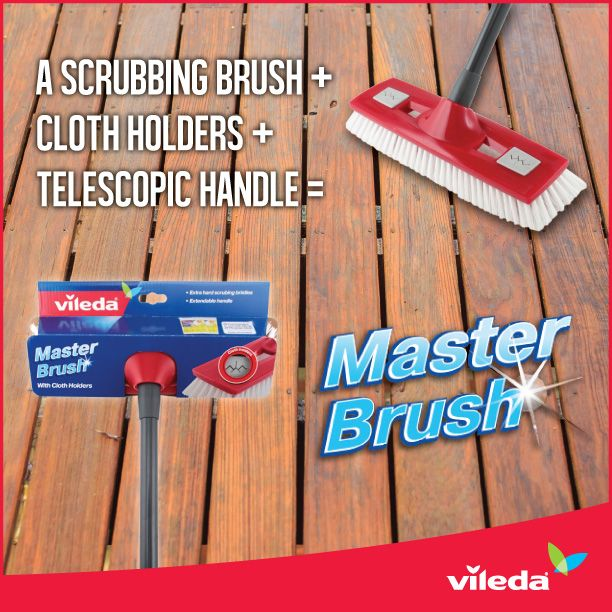 There's nothing better than a product with more than one use - it saves space and money. The NEW 2 in 1 Master Brush can be used as a tough scrubbing brush or a gentler mop when you pop a cloth into the holder grips. With the warmer weather approaching try this inside and out!