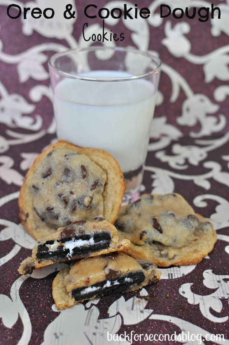 Oreo Stuffed Cookies.... SCORE!!! So easy and SO good!  Will try next time I make cookies!