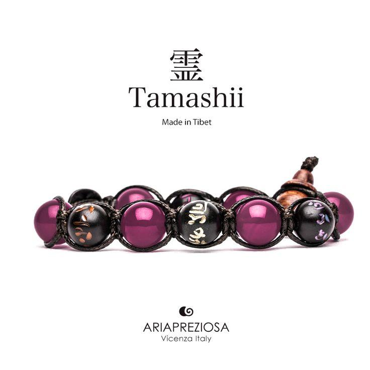 Tamashii - Bracciale originale tibetano (tg. L) realizzato con pietre naturali Agata Rossa e legno orientale autentico con SIMBOLI MANTRA incisi a mano