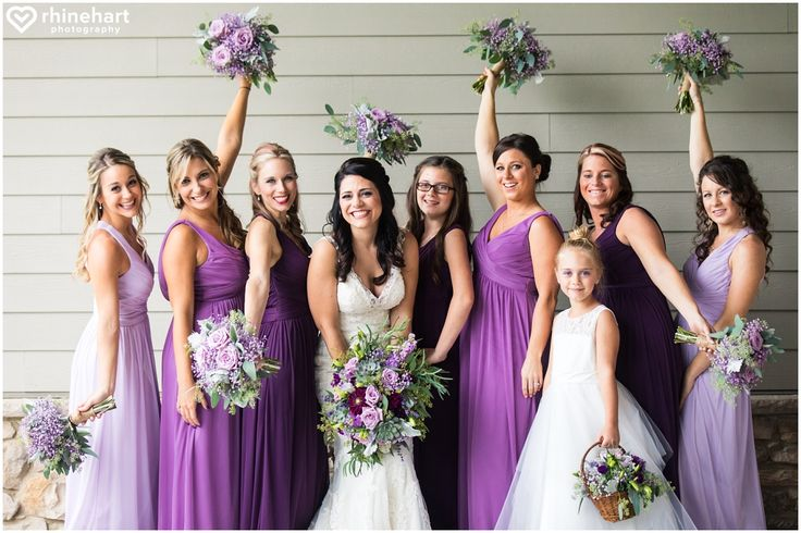 Bridesmaids wedding dress ideas-- different shades of the same color, include all shades into the bouquet, purple bridesmaids gowns and dresses, Highland Lodge at Liberty Mountain Resort wedding photographers