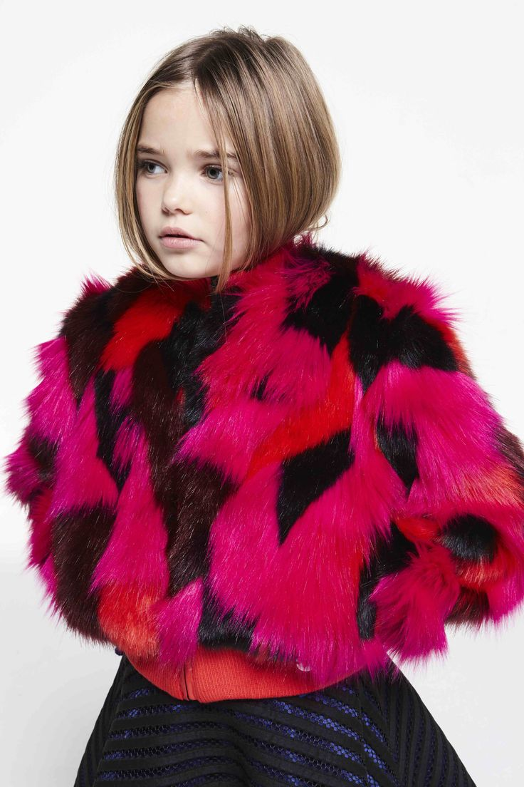Girlswear fun fur jacket at Kenzo for fall 2016 kids fashion