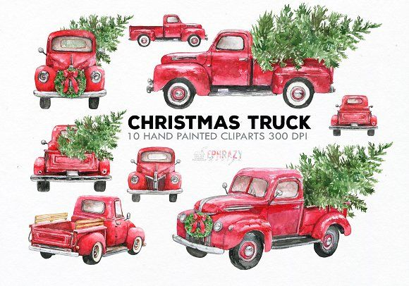 Red Truck Clipart Watercolor Creativework247 Christmas Truck Red Truck Clip Art