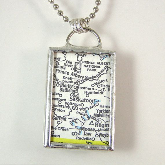 Saskatoon Vintage Map Pendant Necklace by XOHandworks $20