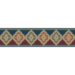 The Wallpaper Company 5.13 in. x 15 ft. Blue and Red Jewel Tone Traditional Paisley Border