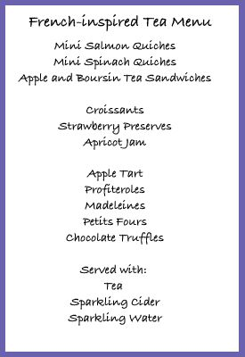 French tea party menu