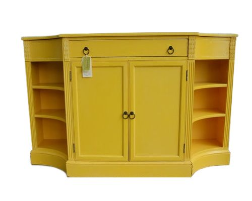Yellow Painted Console Cabinet by juneeason on Etsy