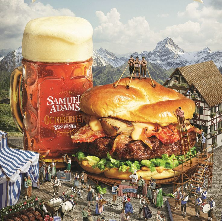 ÜberBurger - A 1/2 pound Black Angus burger topped with candied bacon, grilled bratwurst and onions glazed in Samuel Adams® Octoberfest and drizzled with Merkt's® beer cheese on a hand-made pretzel bun with shredded romaine lettuce and beer mustard. YUMMM!