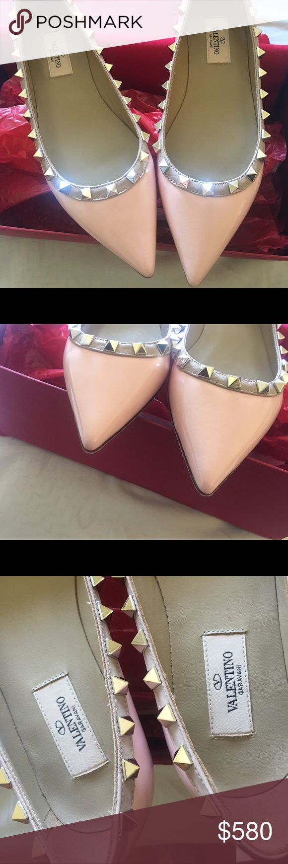 NEW Valentino Rockstud Shoe - Pink37 TOTALLY NEW!!!3M Safety walk on the bottom~The pink is really nice~100%Authentic Valentino Shoes Flats & Loafers