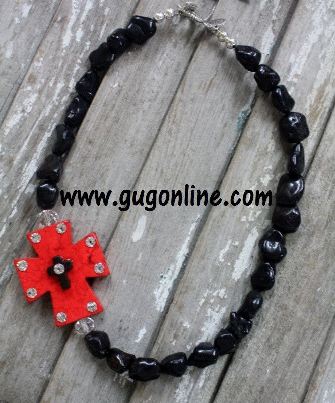 GUG Hand Strung Black Nuggets With Red Side Cross, Topped with Black Cross and Crystals