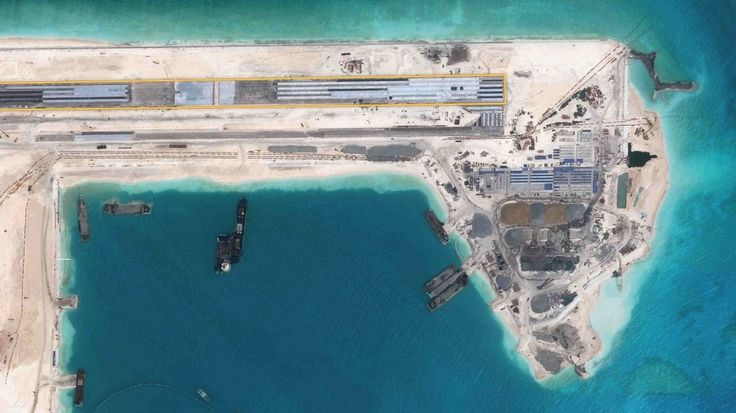 China Has Completed its First Airstrip, The First of Three Being Constructed on the Disputed Reefs in the South China Sea - Fiery Cross Reef