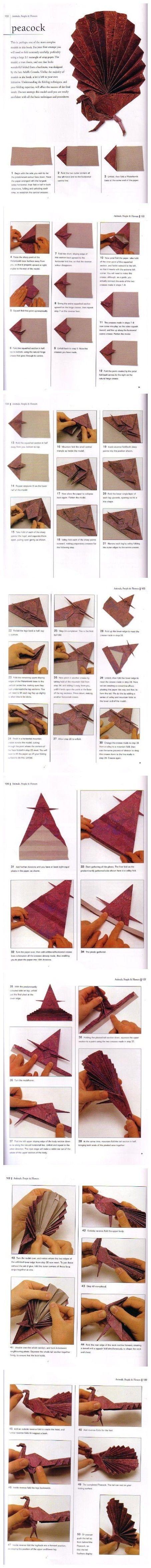 peacock #origami #paper #crafts #DIY #creative #cards