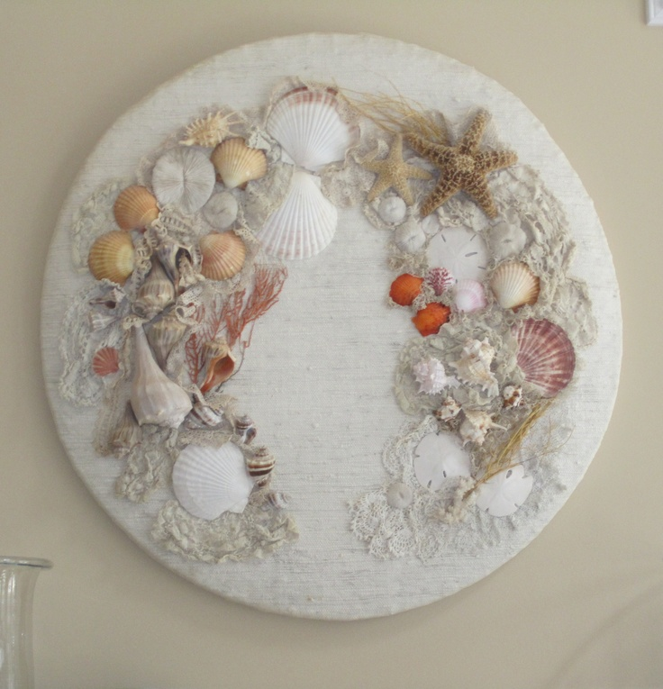 Sea shell piece - with old lace and shells.