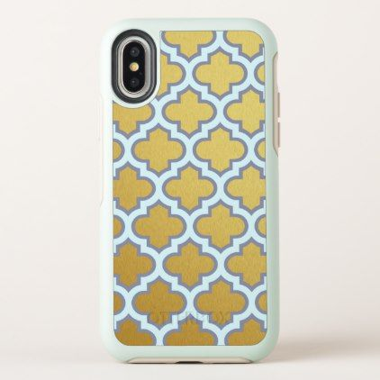Gold and Blue Girly Quatrefoil Pattern Trendy Cute iPhone X Case - girly gifts girls gift ideas unique special