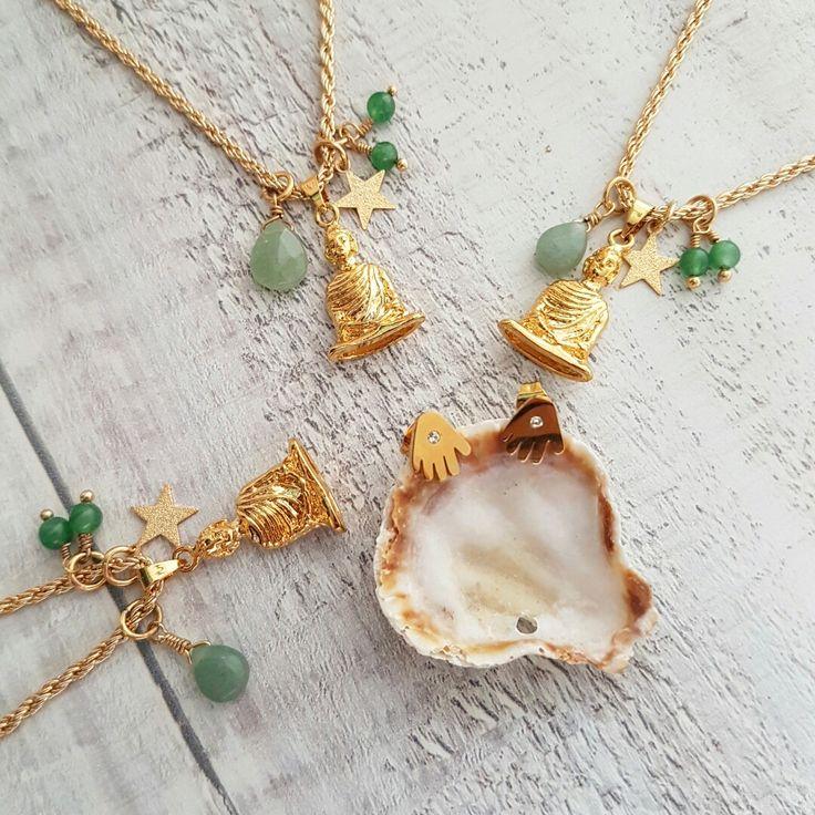 Ref: CA2122 CAdena buda wisdom (incluye aretas) @pavoirreal #pavoirreal #necklace #buda #jade #jewelry #golden #iron #steel  #style #mystyle #handmade #design #colombiandesign #style #biyoux #musthave #handcrafted #yocomprocolombiano✔️