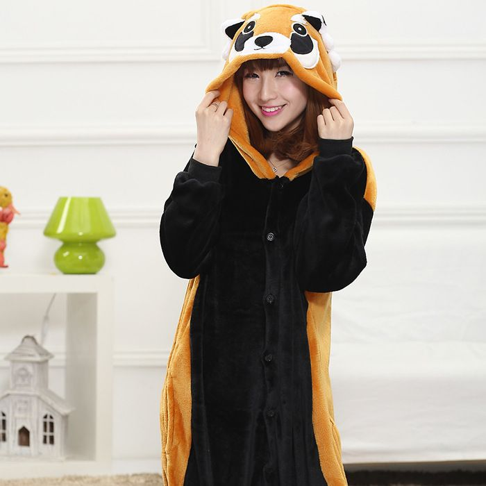 Cute Online Stores Pajamas on The Demon's Chest.Cute Cartoon Raccoon Hood Pajamas Kawaii One-Piece Sleepwear make you more charming in your social activities.
