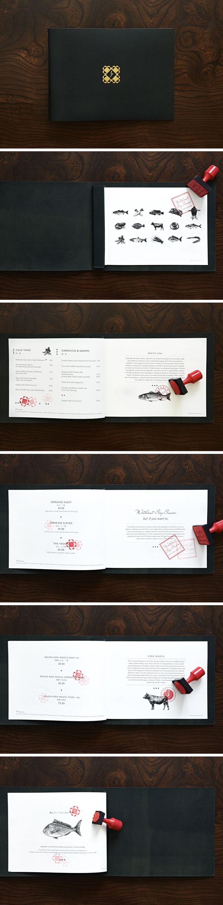 Yashin Sushi & Bar London #restaurant #leather #menu #design #stamp