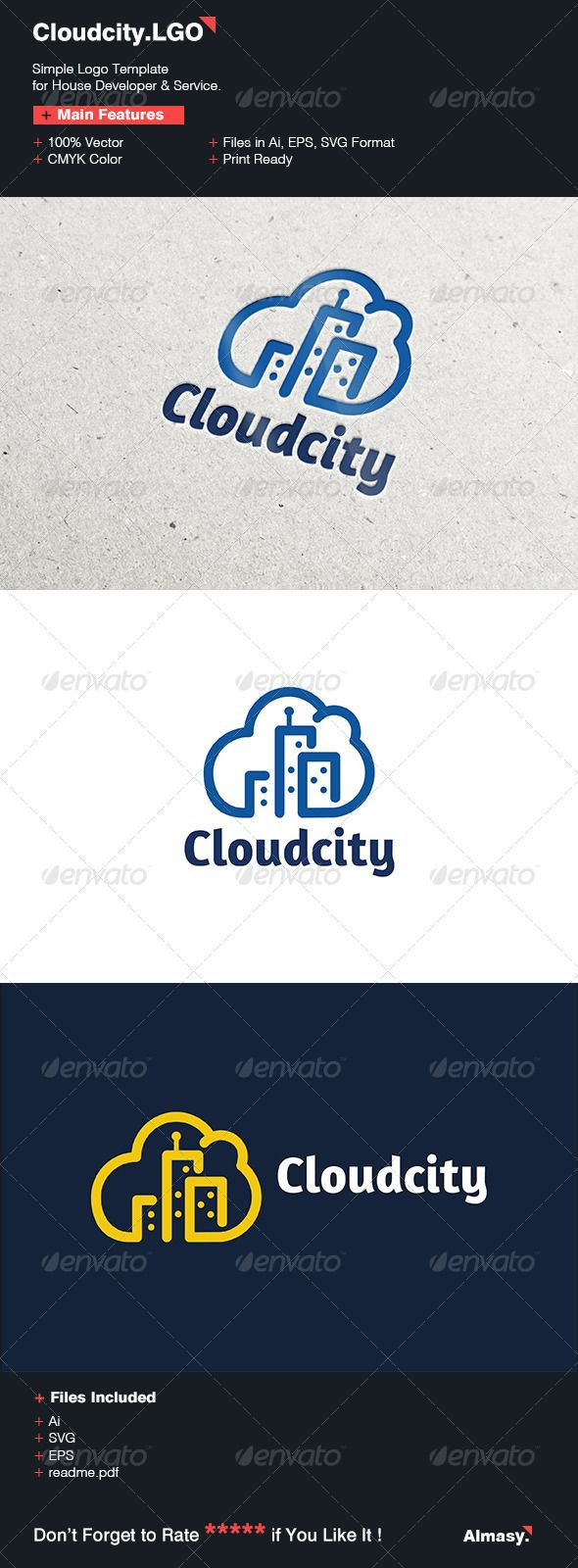 Cloud City Logo Template — Vector EPS #technology #real estate • Available here → https://graphicriver.net/item/cloud-city-logo-template/6675880?ref=pxcr