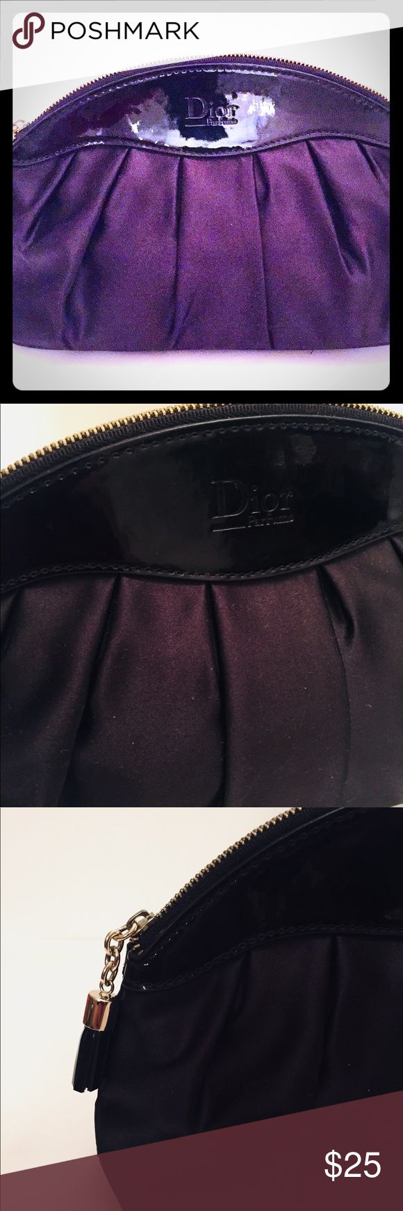 Dior Perfume Cosmetic Case Pretty Dior Cosmetic Case, satin like material, patent material trim, tassel zipper pull, nice clean interior material and condition. Dior Perfume Bags Cosmetic Bags & Cases