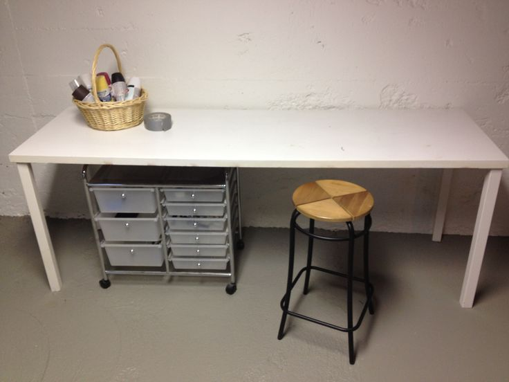 Work Table Or Desk Made From A Hollow Core Door And Four