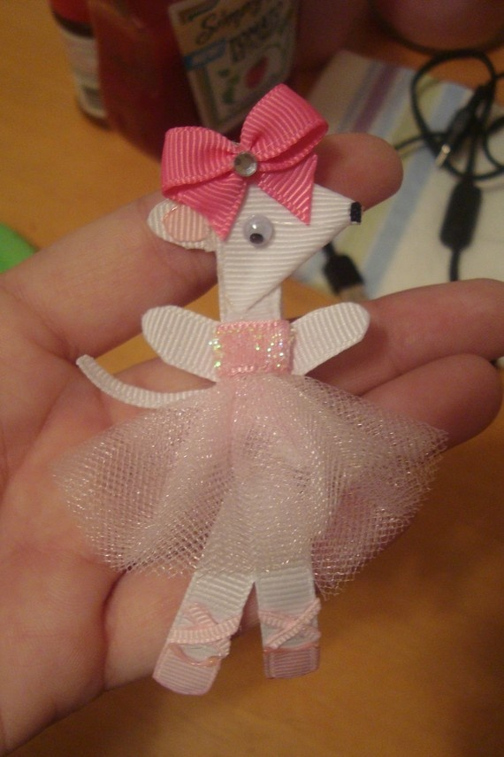 Angelina Ballerina hair clip. The girls would flip!